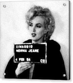 Marilyn Monroe Mugshot In Black And White Acrylic Print