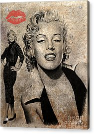 Marilyn Monroe Red Lips Edition Acrylic Print by Andrew Read