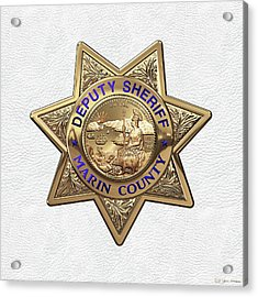 Marin County Sheriff Department - Deputy Sheriff Badge Over White Leather Acrylic Print by Serge Averbukh