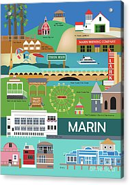 Marin County Vertical Scene - Collage Acrylic Print by Karen Young