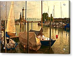 Marina At Golden Light - Digital Paint Acrylic Print