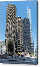 Marina City, Ama Plaza, And Trump Tower Acrylic Print
