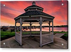 Marina Gazebo Sunset Acrylic Print by Rick Lawler