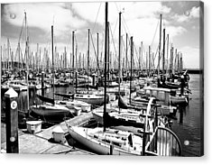 Marina In Black And White Acrylic Print by Sean Gillespie