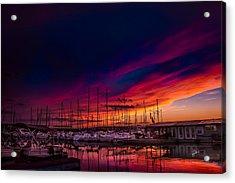 Marina Sunset Acrylic Print by TK Goforth