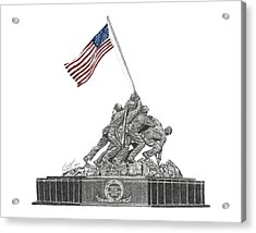 Acrylic Print featuring the drawing Marine Corps War Memorial - Iwo Jima by Betsy Hackett
