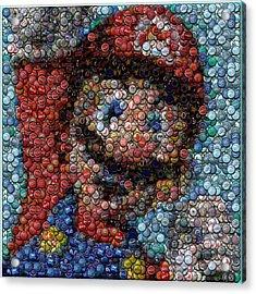 Mario Bottle Cap Mosaic Acrylic Print by Paul Van Scott