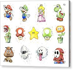 Mario Characters In Watercolor Acrylic Print by Olga Shvartsur