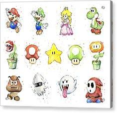Mario Characters In Watercolor Acrylic Print by Olga Shvartsur