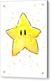 Mario Invincibility Star Watercolor Acrylic Print by Olga Shvartsur