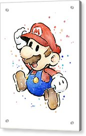 Mario Watercolor Fan Art Acrylic Print by Olga Shvartsur