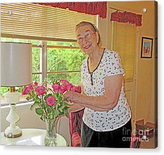 Marion Loves Roses Acrylic Print by Fred Jinkins