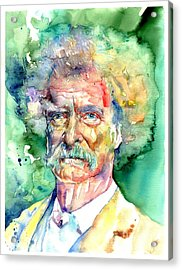 Mark Twain Watercolor Acrylic Print