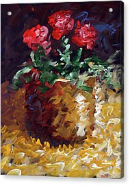 Acrylic Print featuring the painting Mark Webster - Abstract Electric Roses Acrylic Still Life Painting by Mark Webster