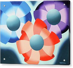 Acrylic Print featuring the painting Mark Webster - Abstract Futurist Flowers 2 Oil Painting  by Mark Webster