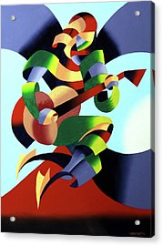 Mark Webster - Abstract Guitarist Acrylic Print