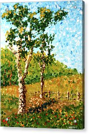 Mark Webster - Abstract Tree Landscape Acrylic Painting Acrylic Print by Mark Webster