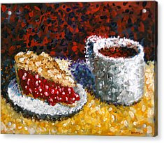 Mark Webster - Impressionist Cherry Pie With Coffee Acrylic Still Life Painting Acrylic Print by Mark Webster