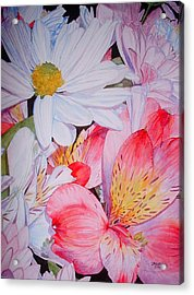 Market Flowers - Watercolor Acrylic Print by Donna Hanna