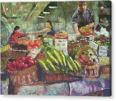 Market Stacker Acrylic Print by Mary McInnis