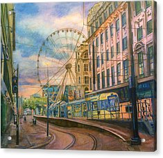 Market Street Metrolink Tramstop With The Manchester Wheel  Acrylic Print