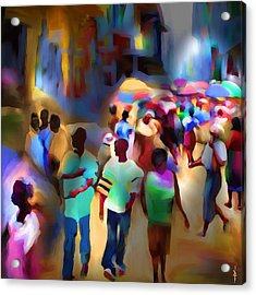 Marketplace At Night Cap Haitien Acrylic Print by Bob Salo