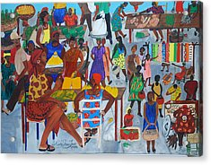 Acrylic Print featuring the painting Marketplace Jacmel Haiti by Nicole Jean-Louis