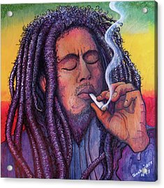 Acrylic Print featuring the painting Marley Smoking by David Sockrider