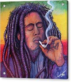 Marley Smoking Acrylic Print by David Sockrider