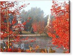 Marlow New Hampshire Early Autumn Fog Acrylic Print by John Burk