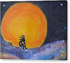 Marmalade Orange And Yellow Moon And Kokopelli Acrylic Print by Anne-Elizabeth Whiteway