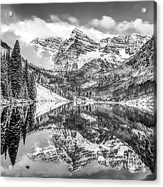 Maroon Bells - Aspen Colorado - Black-white - American Southwest 1x1 Acrylic Print