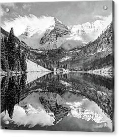 Acrylic Print featuring the photograph Maroon Bells - Aspen Colorado - Monochrome - American Southwest 1x1 by Gregory Ballos