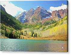 Acrylic Print featuring the photograph The Maroon Bells Reimagined 2 by Eric Glaser