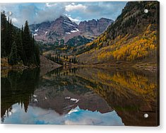 Acrylic Print featuring the photograph Maroon Bells by Gary Lengyel