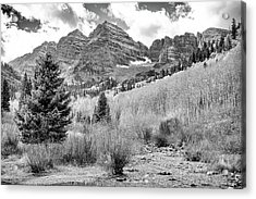 Acrylic Print featuring the photograph Maroon Bells Monochrome by Eric Glaser