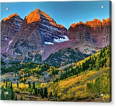 Maroon Bells Sunrise Acrylic Print by Harry Strharsky