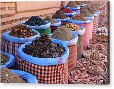 Acrylic Print featuring the photograph Marrakech Spice Market by Ramona Johnston
