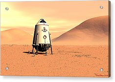 Acrylic Print featuring the digital art Mars Lander Ares First Steps by David Robinson