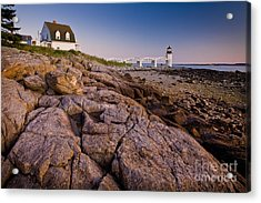 Marshal Point Light Sunset Acrylic Print by Susan Cole Kelly