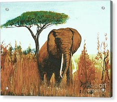 Acrylic Print featuring the painting Marsha's Elephant by Donna Dixon