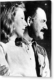 Martha Gellhorn And Ernest Hemingway Acrylic Print by Everett