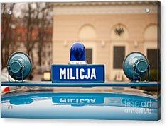 Martial Law Militia Blue Car Cherry Acrylic Print by Arletta Cwalina