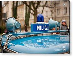 Martial Law Militia Blue Car Detail Acrylic Print by Arletta Cwalina