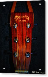 Martin And Co. Headstock Acrylic Print by Bill Cannon
