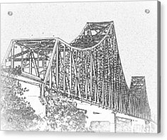 Martin Luther King Bridge Line Art Bw Acrylic Print