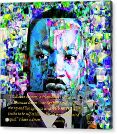 Martin Luther King Jr In Abstract Cubism 20170401 Text Acrylic Print by Wingsdomain Art and Photography