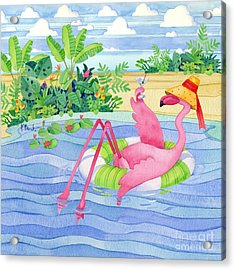 Martini Float Flamingo Acrylic Print by Paul Brent