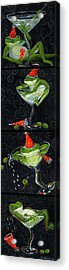 Martini Frogs Acrylic Print by Debbie McCulley