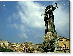 Martyr's Statues In Beirut Acrylic Print by Sami Sarkis